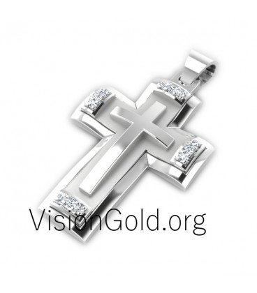 Gold cross necklace - Men'S Crosses 0004,mens diamond cross