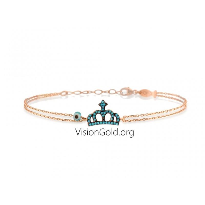 Visiongold.Org® Γυναικείο Χρυσό Βραχιόλι Με Κορώνα|Βραχιολι Κορωνα Απο Ροζ Χρυσο