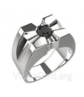 Silver handmade mens ring 0051