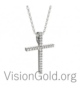 Handcrafted Woman's Cross With Diamond 0083