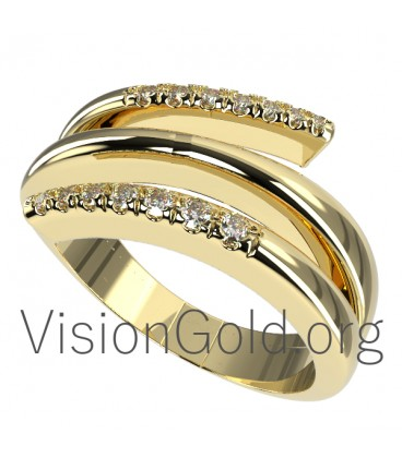 Handcrafted Womens Rings With Brilliant Diamonds 0569