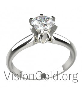 Classic Four Prong Solitaire Engagement Ring in 18k With Diamond 0001