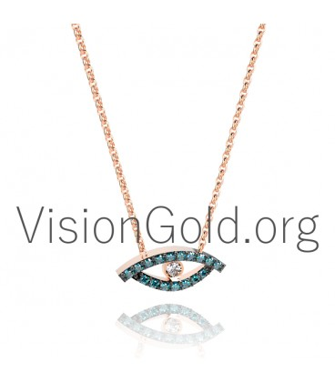 Evil Eye Charm Necklace in 18K Gold with Diamonds 0337
