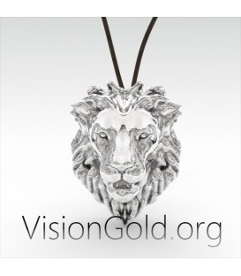 Silver Lion Head Pendant Necklace Recycled Sterling Silver by VisionGold 0055
