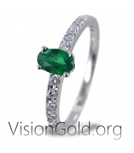 Ring With Oval Emerald And Brilliant Diamonds 0921